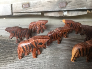 Vintage Wooden Zebra Bead Buy More and Save!
