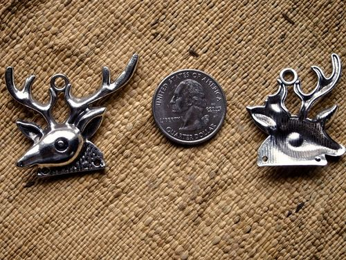Five Antique Silver Stag Deer Head Pendants or Connectors