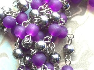 ONE METER Purple Frosted Glass Beads Beaded Rosary Chain with Silver Balls and Links