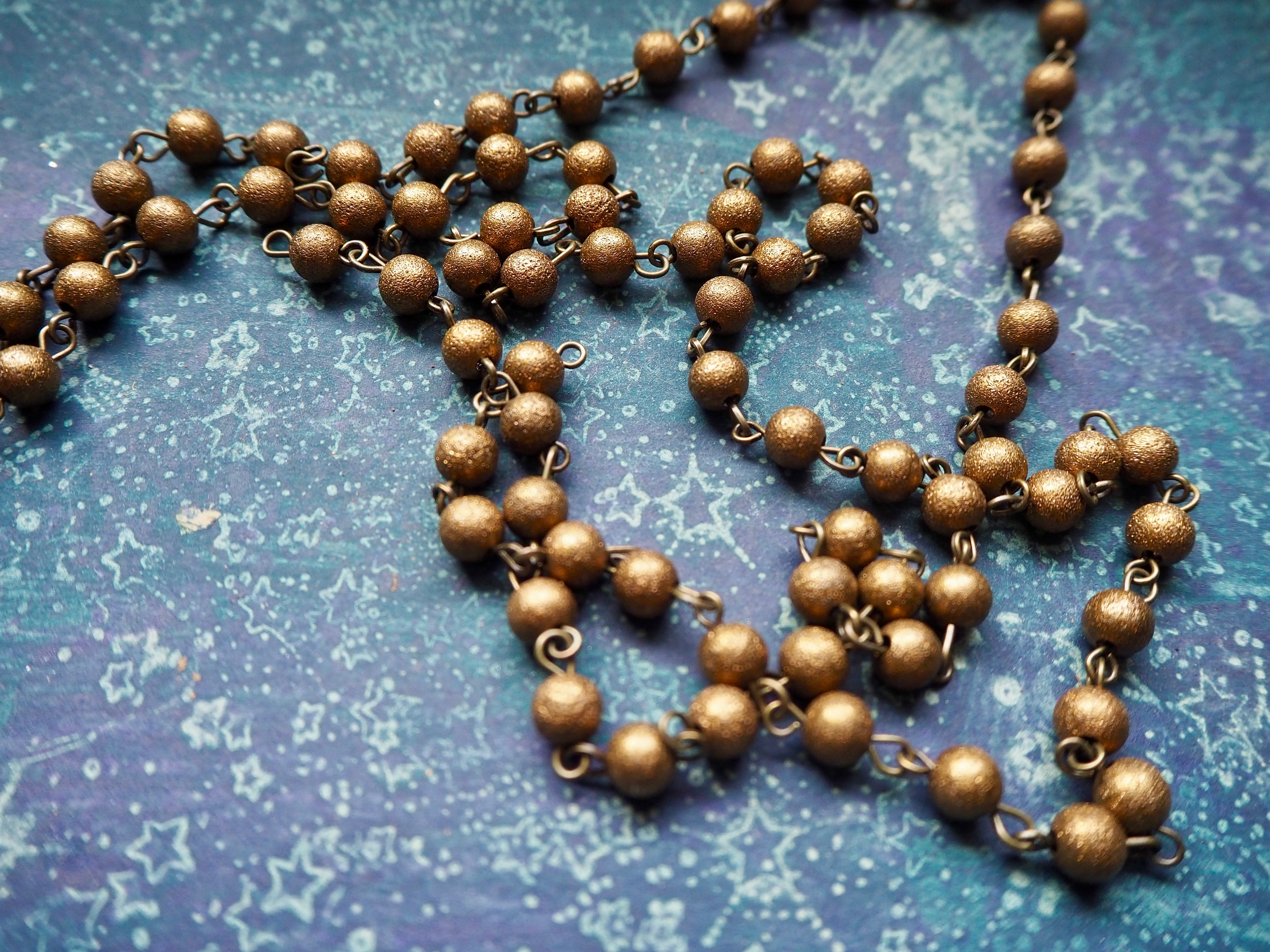 ONE METER 6mm Textured Brass Round Beads Rosary Necklace Chains with Antique Bronze Links