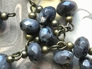ONE METER Natural Faceted Labradorite Abacus Beads Rosary Necklace Chains with Antique Bronze Beads and Links