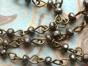 ONE METER Natural Faceted Pyrite Beads Rosary Necklace Chains with Antique Bronze Links