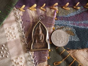 Sandstone and Metal Buddha Amulet Focal Point Arch Pendant