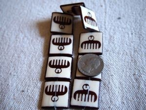 Adinkra Duafe (Wooden Comb) Batik Bone Beads Framed Ebony on Ivory