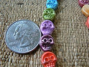Teenie tiny porcelain ceramic flat back skull bead