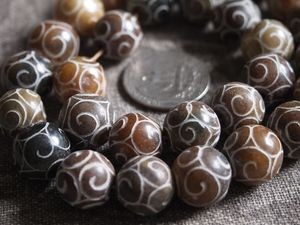 Antique Jade Carved Round Beads 15mm Earthtones