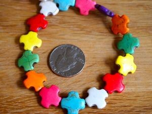 Full Strand MultiColor Howlite 15mm SQUARE Southwest Cross Beads