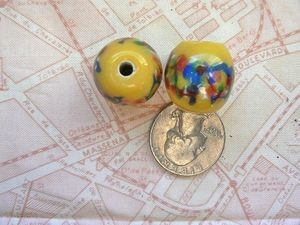 Large 20mm Yellow Lampwork Abstract Design Bead with Large Hole