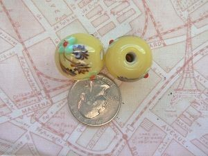 Large 20mm Yellow Lampwork Floral Bead with Large Hole