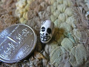 Teenie Tiny Porcelain Ceramic White Skull Beads with Markings
