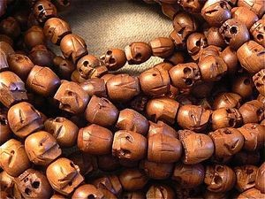 108 bead wood skull bead mala 12x13mm