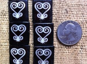 20x23mm Smaller Bone Batik Adinkra Sankofa Heart Batik Beads Ivory on Ebony
