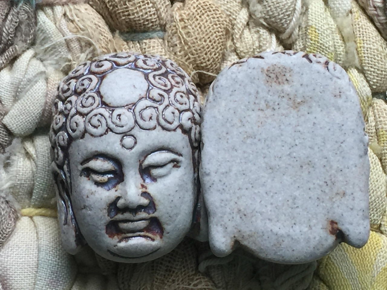 Unglazed Porcelain Ceramic Buddha Head Bead or Pendant
