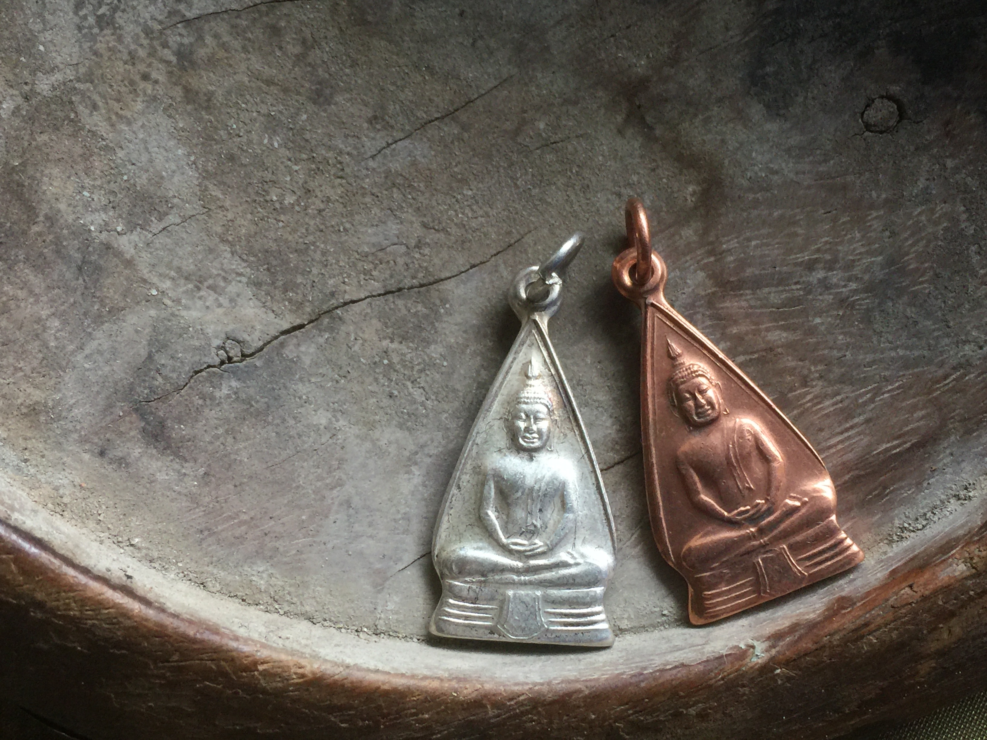 Copper or Silver-plated Brass Seated Buddha Amulet Charm