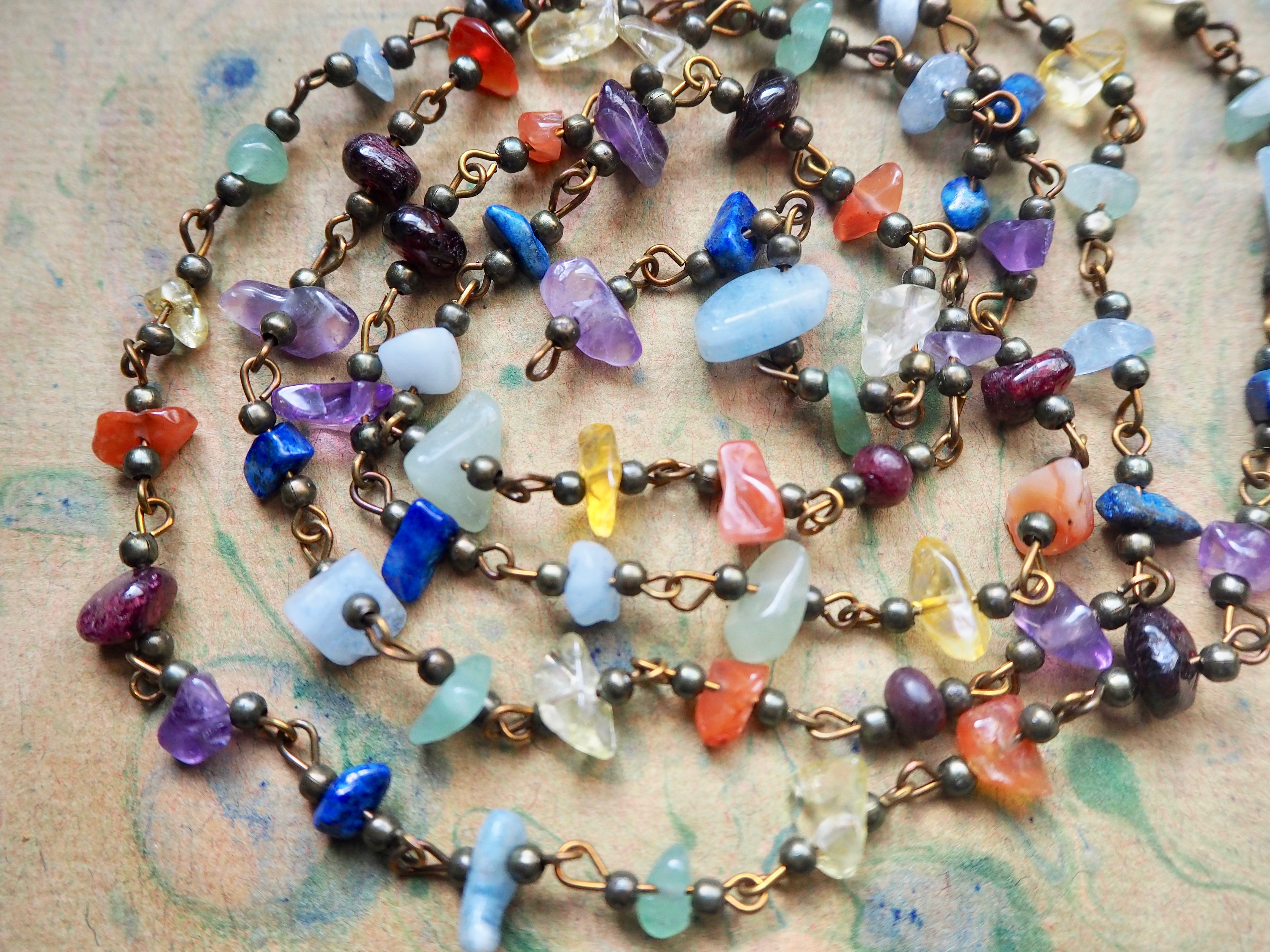 ONE METER Chakra Handmade Gemstone Chip Beads Rosary Chain with Antique Bronze Links
