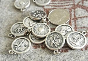 Mini Assorted Silver Round Saint Medal/Charm