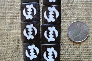 Bone: Adinkra Gye Nyame Batik Beads - Ivory on ebony smaller beads