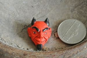 Handpainted Large Ceramic El Diablo (Devil) Head Bead