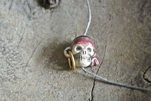 Ceramic:  Pirate skull bead - small