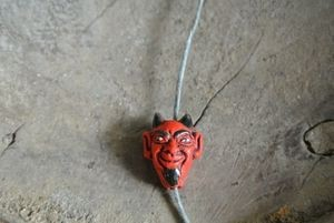 Handpainted Tiny Ceramic El Diablo (Devil) Head Bead