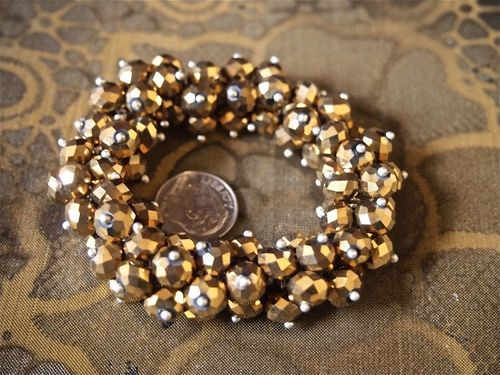 Faceted Metal Bead Drop Bracelet in Silver or Gold