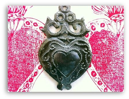 Haitian Milagro Heart Ornament with Scrolls