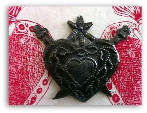 Haitian Milagro Heart Ornament with Swords