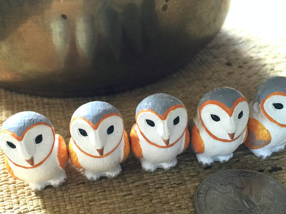 Large Painted White Orange and Grey Porcelain Ceramic Barn Owl Bead or Pendant