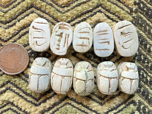 antiquing new color 10 egyptian faience scarab beads matte ivory with antiquing - Faience Colore
