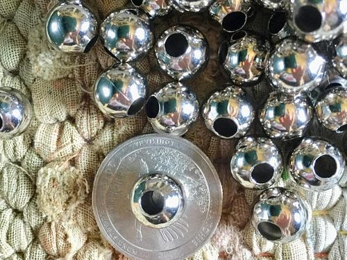 Bulk Wholesale Supplies 10mm Shiny Silver Round Beads with Large 4mm Hole 50 Pieces