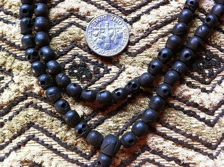 108 bead BLACK wood skull bead mala 5x6mm