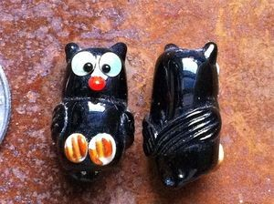 Two Lampwork Glass Black Owl Beads