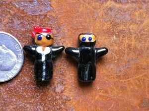 Two Lampwork Glass Ninja/Pirate Beads
