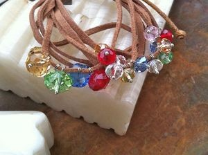 Faceted glass bead and faux suede friendship bracelet - multicolor