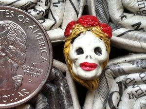 Tiny Ceramic Day of the Dead Frida Bead