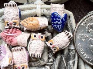 Teenie tiny ceramic owl beads