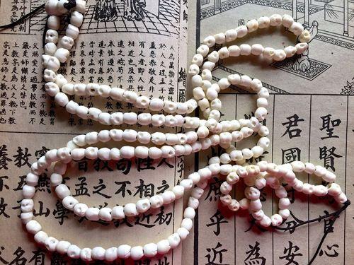 Beads Bone 108 Carved White Bone Mala 5x6mm Skull Beads