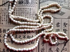 108 white carved bone mala 5x6mm skull beads