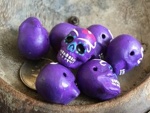Large PURPLE Painted Day of the Dead Skull Bead