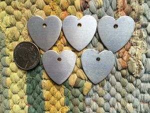 5 Heart Shaped Aluminum Tags