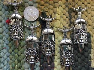 5 Large Antique Silver Tribal Mask Pendants or Charms