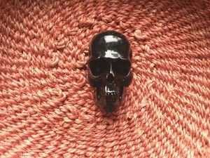 40mm Black Resin Skull Bead with Vertical 2mm Hole