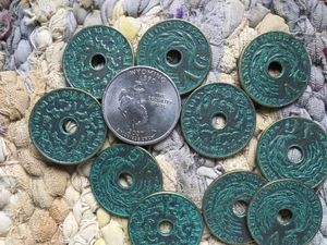 10 Pcs 1940's Vintage Indonesian Verdigris Brass 1 Cent Coins with Hole Charms or Pendants