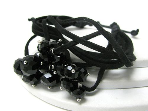 Faceted glass bead and faux suede friendship bracelet - black