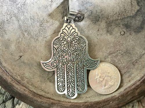 Large 63mm hamsa hand pendant in silver or gold finish large 63mm hamsa hand pendant in silver or gold finish aloadofball Choice Image