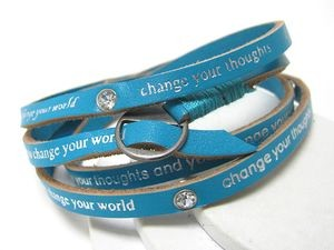 Vegan Leather Turquoise Change Message Wrap Friendship Bracelet