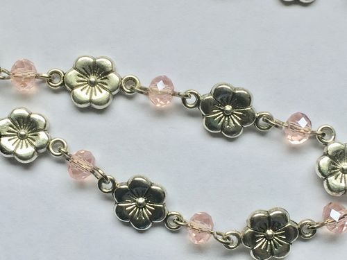 ONE METER Silver Floral Links and Pink Faceted Rondelle Glass Beads Rosary Chain