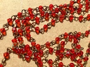 ONE METER Dark Orange Bicone Glass Beads Beaded Rosary Chain with Antique Bronze Links