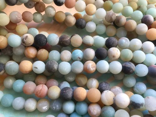 Full Strand 7.5-8mm Frosted Round Amazonite Beads 48 Beads