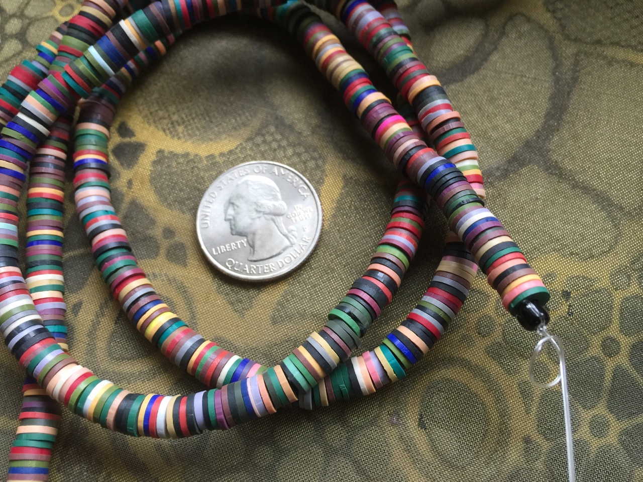 Full Strand of Multi-Colored 6mm Polymer Clay Disc Spacer Beads